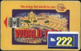 PAKISTAN : WC-05A A Rs.222 BLUE Over Rs.199 City Design Netsle Sticker USED - Pakistan