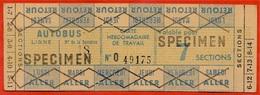 """Rare Titre De Transport Avec Mention """"SPECIMEN"""" CARTE HEBDOMADAIRE De TRAVAIL AUTOBUS RATP 75 PARIS - Bus"""