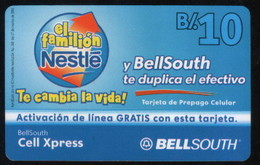 PANAMA PHONECARD PREPAID  BELLSOUTH EL FAMILION NESTLE  B/10 - Panamá