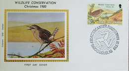 L) 1980 ISLE OF MAN, WILDLIFE CONSERVATION, CHRISTMAS, BIRD, NATURE, FAUNA, 6P, FDC - Isle Of Man
