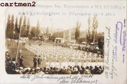 CARTE PHOTO : MÜLHAUSEN MULHOUSE PFORZHEIM MILHUSINA SOLDATS ALLEMANDS  GYMNASTIQUE KRIEG MORITZ SCHLESINGER DEUTSCHLAND - Mulhouse