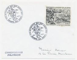 TAAF - Enveloppe Affr 100F Découverte Des Iles Crozet - Premier Jour Archipel Des Crozet - 24.1.1972 - FDC
