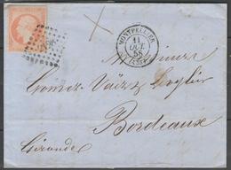 Hérault:  P.c.2128 Sur N°16b (orange Sur Paille) + CàD MONTPELLIER(33) Sur LAC De 1858 - Marcophilie (Lettres)