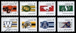 Canada (Scott No.2559-66 - CFL Teams) (o) (P) Serie De 8 Roulette / Coil Set Of 8 - 1952-.... Regering Van Elizabeth II