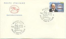 ITALIA - FDC  CAVALLINO 1994 -  AUGUSTO RIGHI - CENTO ANNI DELLA RADIO - ANNULLO SPECIALE MILANO - 6. 1946-.. Repubblica