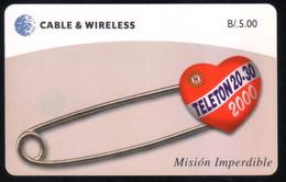 PAN-50 PANAMA PHONECARD C & W TELETHON CHIP GEM3 USED B/5.00 - Panama