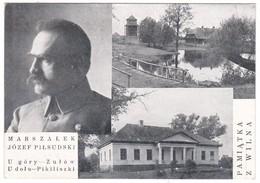 8837 Poland, Wilno Old Greetings Postcard Multiview Unused: Marshal Josef Pilsudski - Polish Revolutionary And Statesman - Pologne