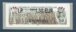 Timbre De Distributeur - LISA 2 - ATM - Entrée En Guerre Des Etats-Unis - Gal Pershing - 2010-... Abgebildete Automatenmarke