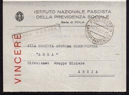 ITALY ITALIA ROMA POLA CENTRO ARSIA 1942. INSTITUTO NAZIONALE FASCISTA DELLE PREVIDENZA SOCIALE - Historical Documents