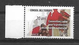 France 2018 - Yv N° 173 ** Convention-cadre Pour La Protection Des Minorités Nationales 20 Ans (Conseil De L'Europe) - Francia