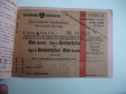 Ticket Train Autriche Wien Nordbf - Railway