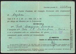 ITALY ITALIA CAGLIARI ARSIA 1942. MINISTERO PER LE CORPORAZIONI, ORDINA - Historical Documents