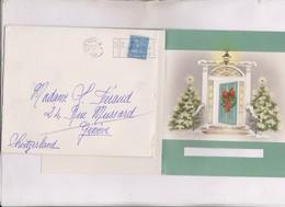 CARTE DE VOEUX NOEL ET NOUVEL AN En 1950! USA Pour LA FRANCE (en 2 Volets)  (avec Enveloppe Timbree) - Faire-part