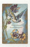 Cp , VOTRE PENSEE M'A FAIT BIEN PLAISIR , Gaufrée , Voyagée 1907 , Illustrateur, Hirondelle , Fleurs - Altri