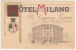 8844 Italy, Verona Old Litho? Postcard Unused: Hotel Milano, Automobile Era, Animated - Verona