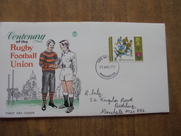 S031: FDC: RUGBY FOOTBALL UNION Centenary. 9p Stamp. First Day Of Issue 25 Aug 1971 Manchester. - FDC