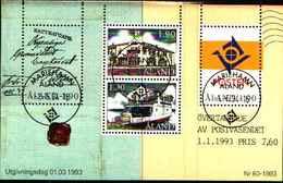 72575) ALAND 1993 - SERVIZIO POSTALE - M. 7,60 - FOGLIETTO-USATO - Aland