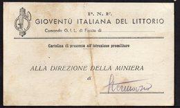 MILITARIA ITALY ITALIA ARSIA 1943. P.N.F. GIOVENTU ITALIANA DEL LITTORIO, COMANDO G.I.L. DI FASCIO - Militaria