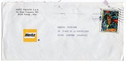 ENVELOPPE    ITALIE   HERTZ ITALIANA  FIRENZE  1976       VERS LA FRANCE - Marcofilia - EMA ( Maquina De Huellas A Franquear)