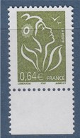 Marianne De Lamouche ITVF 0.64€ Vert Olive N° 3756 Neuf Gommé Avec Bord De Feuille - 2004-08 Marianne De Lamouche
