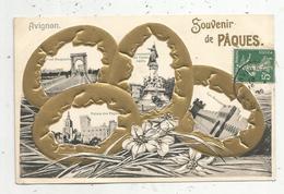 Cp , Gaufrée , 84 , SOUVENIR DE PAQUES , Multi Vues Dans Oeufs ,  Voyagée ,10529 , Ed. F. Beau - Avignon