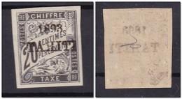 TAHITI - Taxes 20 Cts - Yvert 1 Signé Alain Jacquart - Cote 650€ - * Légère Trace De Charnière  - FRAIS SUPERBE - Tahiti (1882-1915)
