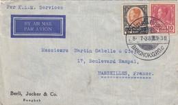 COVER SIAM. 18 7 38. BERLI JUCKER & C° BANGKOK TO MARSEILLE FRANCE - Siam