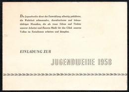 B8187 - Einladung Eintrittskarte - Jugendweihe DDR - Gesellschaftshaus Hohenstein Ernstthal - Eintrittskarten