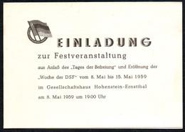 B8188 - Einladung Eintrittskarte - Woche Der DSF - Gesellschaftshaus Hohenstein Ernstthal - Eintrittskarten