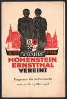 B8189 - Jahrfeier Festwoche - Volkssolidarität Einladung Eintrittskarte - Schützenhaus Hohenstein Ernstthal - Eintrittskarten