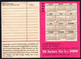B8190 - Kalender - Werbung NVA Volksarmee Soldaten Rundschau DDR - Kleinformat : 1961-70
