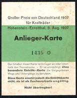 B8196 - Großer Preis Hohenstein Ernstthal Eintrittskarte - Motorradrennen Motorsport - Eintrittskarten