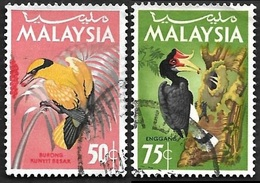 MALAISIE - MALAYSIA  1965 -  YT  24 Et 25  -  Loriot Et Calao  - Oblitérés - Malaysia (1964-...)