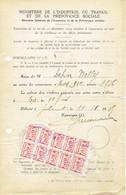 Bloc De 10 Timbres S.M.R.S.S. Centre Et Environs Sur Document Du Ministère De L'Industrie Et Du Travail De 1936 - Belgique