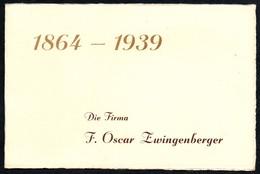3509 - Visitenkarte Firma F. Oscar Zwingenberger - 75 Jährigen Jubiläum - Hohenstein Ernstthal - Hüttenmühle - Visitenkarten