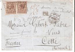 L. Double Port (contenu Partiel) Sans Càd DATEUR TP. N° 19(2) Los.Pts 170 V/France + BELG/AMB.QUIEVRAIN - 1865-1866 Profile Left