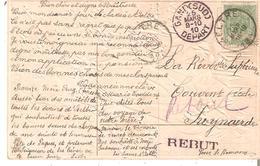C.fantaisie TP. 83 En 1910 De AELTRE V/Zwynaerde - GRIFFE REBUT + RETOUR - GAND 25/3/10 Départ - Poststempel