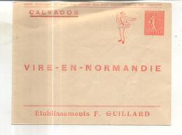 Entier Postal Privé : Calvados, Vire En Normandie, Etablissements F. Guillard - Entiers Postaux