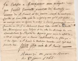 1764 AUMONE MARIAGE CERTIFICAT DE PAUVRETE / COURTAULY SAINT BENOIT ARIEGE / LIMOUX AUDE  AR161 - Historical Documents