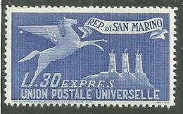 SAN MARINO 1946 ESPRESSI SPECIAL DELIVERY ABROAD ESPRESSO PER L'ESTERO LIRE 30  MNH - Timbres Express