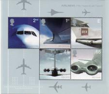 GREAT BRITAIN 2002 Passenger Jet Aviation M/S - Blocks & Miniature Sheets