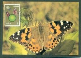CM-Carte Maximum Card #1986-Malta # Europa  CEPT # Protection Nature Et Environnement # Papillon,Schmetterling,butterfly - Europa-CEPT