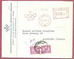 BUSTA VG ITALIA - TASSATA Federazione Atletica Leggera CONI - 12 X 15 - ANN. 1961 ROMA CONEGLIANO ATM MECCANICA ROSSA - Affrancature Meccaniche Rosse (EMA)