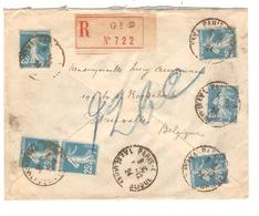 PR6036/ TP Semeuse (6) S/L.Recommandée C.Paris 1924 + Gff S/Etiquette G 2 5 V.Belgique - Marcophilie (Lettres)