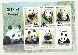 North Korea 2005 Panda (5)+Label SHEET UM - Corea Del Norte