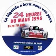 Autocollant Des 24 Heures Du Mans Des 15 Juin Et 16 Juin 1996 - Voitures (Courses)