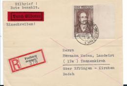 Franz. Zone XX002 / Goethe 1 M. Mir Leerfeld Auf Eilboten-Einschreiben, Freiburg Nach Tannenkirch 12.1.46 (Attest) - Zone Française