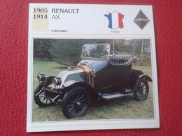 FICHA TÉCNICA DATA TECNICAL SHEET FICHE TECHNIQUE AUTO COCHE CAR VOITURE 1905 1914 RENAULT AX FRANCE FRANCIA CARS VER FO - Coches
