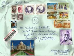 Belle Lettre Recommandée (Mahatma Gandhi) Adressée Andorra, Avec Timbre à Date Arrivée (2 Photos) - Mahatma Gandhi