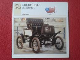 FICHA TÉCNICA DATA TECNICAL SHEET FICHE TECHNIQUE AUTO COCHE CAR VOITURE 1901 1903 LOCOMOBILE STEAMER USA UNITED STATES - Coches